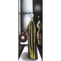 """""""L'allégorie"""" - Acrylique sur panneau - 48""""x 20"""" - 2016"""