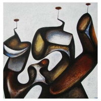 """""""Composition sculpturale I"""" - Mixte sur panneau - 36"""" X 36'' - 2012"""