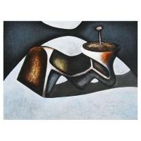 """""""Composition sculpturale II"""" - Mixte sur panneau - 30"""" X 40'' - 2012"""