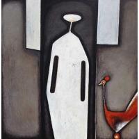 """""""L'oiseau rouge"""" - Acrylique sur panneau - 40""""x40"""" - 2015"""