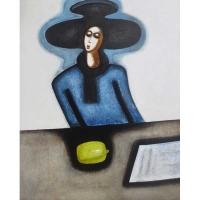 """""""Femme bleue, citron vert"""" - Acrylique sur panneau - 48""""x 40"""" - 2016"""
