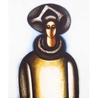 """""""Mage au grand chapeau""""- Acrylique sur panneau - 24""""x20"""" - 2016"""
