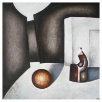 """""""Composition monumentale II"""" - 50"""" X 50'' - Mixte sur panneau - 2011"""