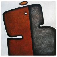 """""""Rouge et Noir"""" - Mixte sur panneau - 48"""" X 48'' - 2012"""