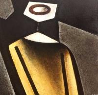 """""""Personnage jaune"""" - Acrylique sur panneau - 15""""x15"""" - 2014"""
