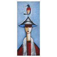 """""""Personnage à l' oiseau"""" - 36"""" X 15'' - Acrylique sur panneau - 2010"""