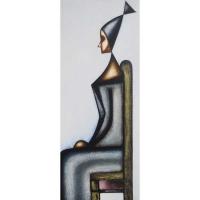 """""""Profile de femme"""" - Acrylique sur panneau - 48""""x 20"""" - 2016"""