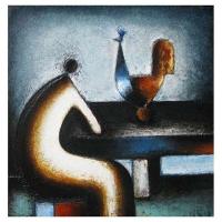 """""""Dialogue"""" - 14"""" X 14'' -Acrylique sur panneau - 2010"""