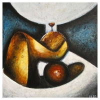 """""""Réflexion globale"""" - Mixte sur panneau - 12"""" X 12'' - 2012"""