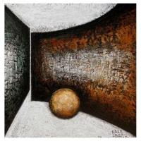 """""""Composition avec cercle"""" - 12"""" X 12'' - Acrylique sur panneau - 2007"""