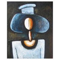 """""""Femme au chapeau bleu"""" - 16"""" X 13'' - Acrylique sur panneau - 2011"""