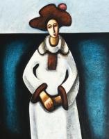 ''Dame au chapeau rouge''-Acrylique sur panneau-40''x32''-2017