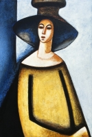 ''Femme en jaune''-Acrylique sur panneau-29''x20''-2017
