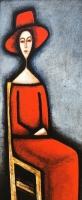 ''Femme en rouge coguelicot''-Acrylique sur panneau-40''x16''-2017