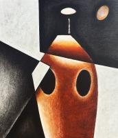 ''Figure rouge''-Acrylique sur panneau-36''x32''-2017