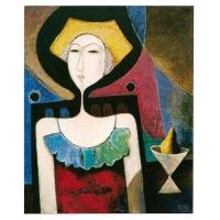 """""""En attendant"""" - Acrylique sur panneau -2001"""